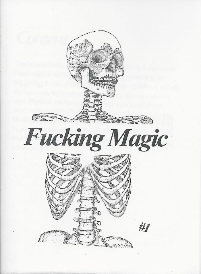 "A skeleton and the words ""Fucking Magic #1"""